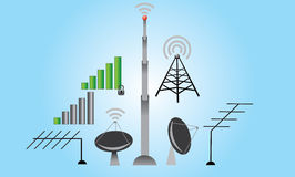 Antennas set and wifi signals Stock Images