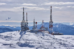 Antennas station at peak of mountain Royalty Free Stock Photography
