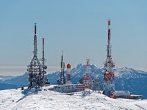 Antennas station top mountain Royalty Free Stock Photos
