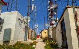 Antennas station on top of a mountain at Corfu Greece. Stock Images