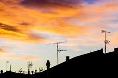 Antennas at sunset Royalty Free Stock Photos