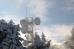 Antennas for telecommunications in winter Royalty Free Stock Image