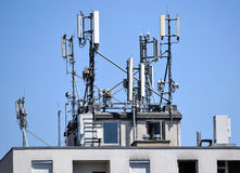 Antennas on the top of a building Royalty Free Stock Photography