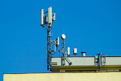 Antennas on the top of a building Royalty Free Stock Photos