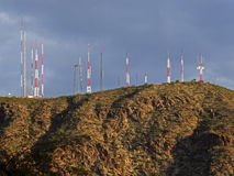 Antennas on top of a mountain. In a desert Royalty Free Stock Photography