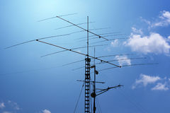 Antennas and transmitters. On poles stock image