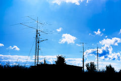 Antennas and transmitters Royalty Free Stock Images