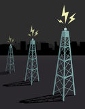Antennas transmitting / Night boadcasting Stock Photo