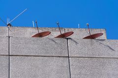 Antennas of tv in terrace building in Guatemala. royalty free stock photo
