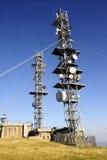 Antennas. Various telecommunication antennas atop Mount Aigoual towers Stock Image