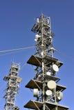 Antennas. Various telecommunication antennas atop Mount Aigoual towers Stock Photography