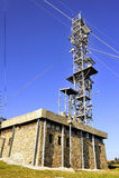 Antennas. Various telecommunication antennas atop Mount Aigoual towers Stock Images