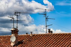 Antennas of the world. Blue sky and antenna. stock images