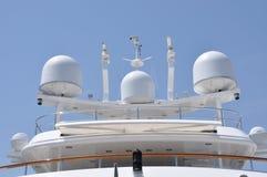 Antennas on a yacht Stock Photography