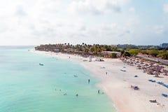 Antenne à la plage de Manchebo sur l'île d'Aruba Photos stock