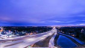 Antenne über Landstraßenaustausch nahe Green Bay Wisconsin Lizenzfreie Stockfotos