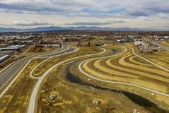 Antenne über Straßen in Denver, Colorado Lizenzfreie Stockfotos