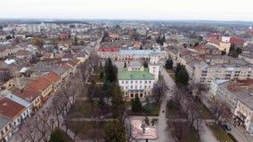 Antenne: Alte Stadt Sambir, Ukraine Brummen Timelaps stock footage