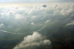 Antenne boven wolken Royalty-vrije Stock Foto's