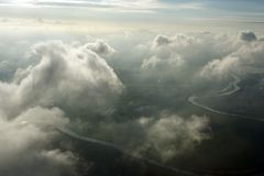 Antenne boven wolken Royalty-vrije Stock Foto