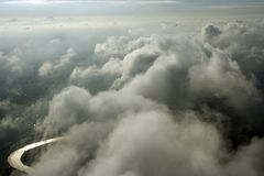 Antenne boven wolken Royalty-vrije Stock Afbeeldingen