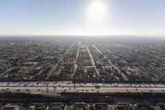Antenne centrale du sud d'autoroute du port 110 de Los Angeles Photos libres de droits