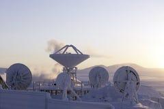 Antenne contre le paysage d'hiver dans Chukotka Photographie stock