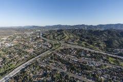 Antenne d'autoroute de l'itinéraire 101 et 23 de Thousand Oaks Photo libre de droits
