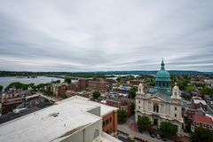 Antenne d'Harrisburg du centre historique, Pennsylvanie à côté de image stock