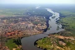 Antenne de Juba, capital du Soudan du sud photo stock