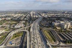 Antenne de l'autoroute de San Diego 405 à Los Angeles occidentale Photo stock