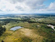Antenne de la petite ville rurale de Sommerville, Texas Next dans le pari Image stock