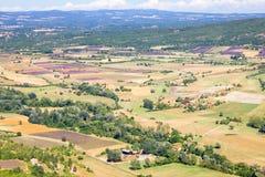 Antenne de lavendelgebieden in de Provence, Frankrijk Royalty-vrije Stock Foto's