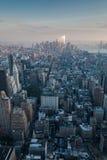 Antenne de New York au crépuscule Photo stock