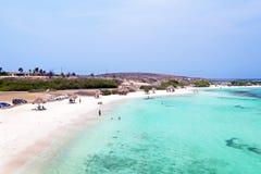 Antenne de plage de bébé sur l'île d'Aruba Image stock
