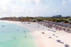 Antenne de plage de Druif sur l'île d'Aruba Images libres de droits