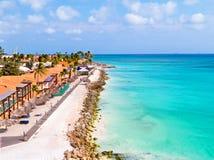 Antenne de plage de Druif sur l'île d'Aruba dans les Caraïbe Photos libres de droits