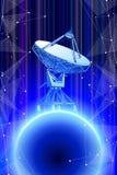 Antenne de radar Doppler et planète bleue en l'espace du Web de l'information illustration libre de droits