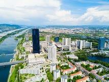 Antenne de secteur de Danube, Vienne photographie stock