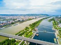 Antenne de secteur de Danube, Vienne photo stock