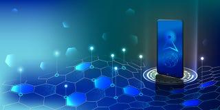Antenne de Smartphone dans les vagues numériques Smartphone reçoit le connec photos libres de droits