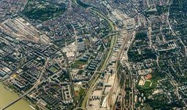 Antenne de Vienne avec la rivière Danube Photos stock
