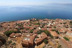 Antenne de ville de Monemvasia Photo libre de droits