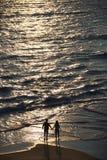 Antenne der Paare auf Strand. lizenzfreies stockbild