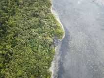 Antenne der Tropeninsel-Küstenlinie Lizenzfreies Stockbild