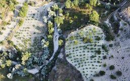 Antenne des Ackerlands erntet Kalkstein Cappadocia Stockfotos