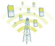 Antenne die mobiele telefoons transmtting royalty-vrije illustratie