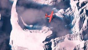 Antenne die van rood vliegtuig over noordpoolsneeuwlandschap vliegen met bl Stock Fotografie