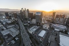 Antenne du centre de lever de soleil de paysage urbain de Los Angeles Photo libre de droits