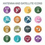 Antenne en satelliet lange schaduwpictogrammen royalty-vrije illustratie